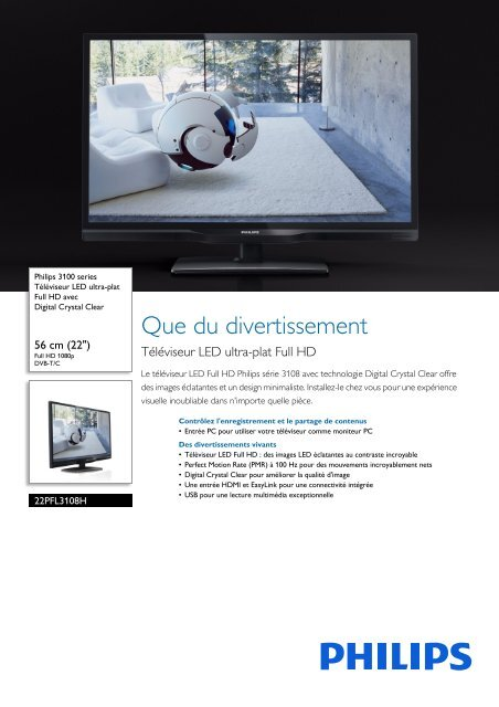 Philips 3100 series Téléviseur LED ultra-plat Full HD - Fiche Produit - FRA