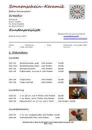 Kundenpreisliste - Sonnenschein Keramik GbR