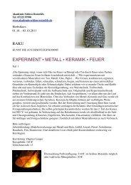 EXPERIMENT METALL KERAMIK FEUER - Dagmar Langer Keramik