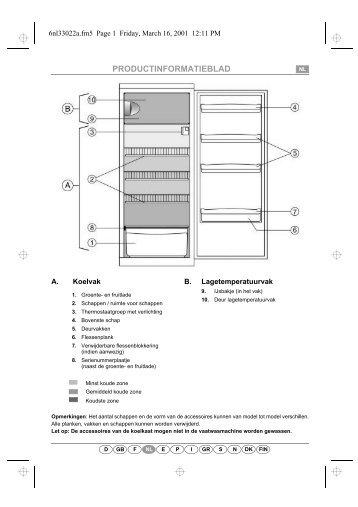 KitchenAid A 255R/M - Refrigerator - A 255R/M - Refrigerator NL (853985938000) Scheda programmi