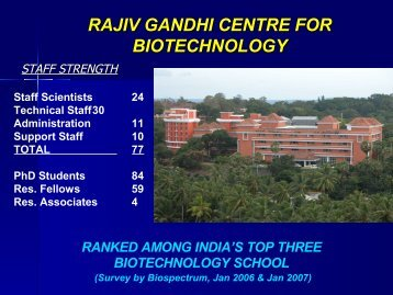 Watch RGCB-the slide show - Rajiv Gandhi Centre for Biotechnology