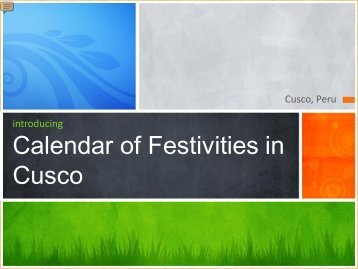 Calendar Of Festivities Of Cusco