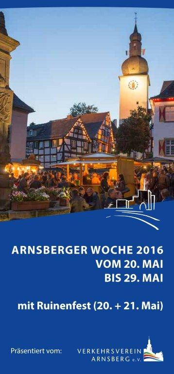 ARNSBERGER WOCHE 2016 VOM 20 MAI BIS 29 MAI mit Ruinenfest (20 + 21 Mai)