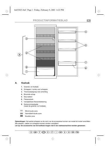 KitchenAid A 305/M - Refrigerator - A 305/M - Refrigerator NL (853986401000) Scheda programmi