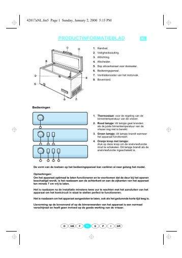 KitchenAid 1 CH-4610 - Freezer - 1 CH-4610 - Freezer NL (850795718010) Scheda programmi