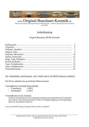 Artikelkatalog - Original Bunzlauer Keramik