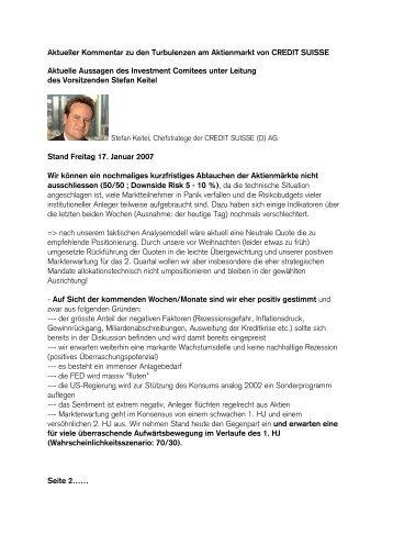 Marktkommentar (Credit Suisse) - Finanzpartner.de