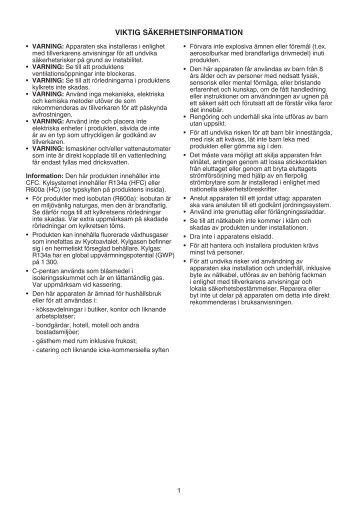 KitchenAid ZS 12 A1 D/HA - Refrigerator - ZS 12 A1 D/HA - Refrigerator SV (859991016820) Istruzioni per l'Uso