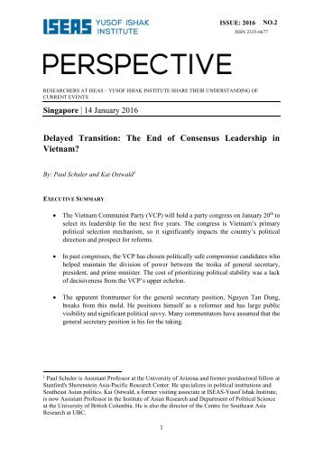 Delayed Transition The End of Consensus Leadership in Vietnam?