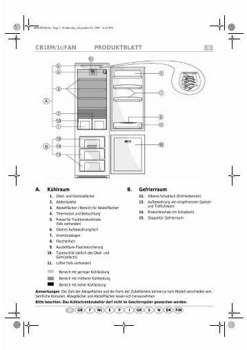 KitchenAid A 300 A/E04 - Fridge/freezer combination - A 300 A/E04 - Fridge/freezer combination DE (853976312010) Scheda programmi