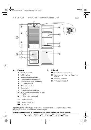 KitchenAid A 300 A/E04 - Fridge/freezer combination - A 300 A/E04 - Fridge/freezer combination NL (853976312010) Scheda programmi