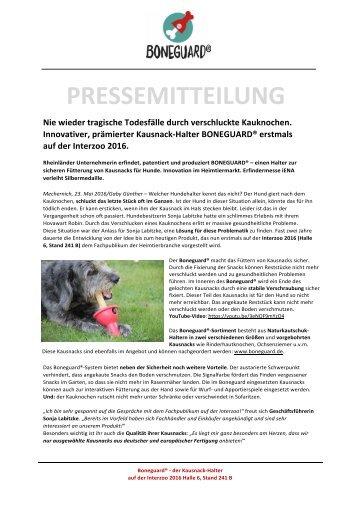 Pressemitteilung BONEGUARD