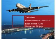 Teilhaben. Lloyd Fonds A380 Singapore Airlines - Dr. Theissen GmbH