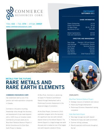 rare metals and rare earth elements - Commerce Resources Corp.