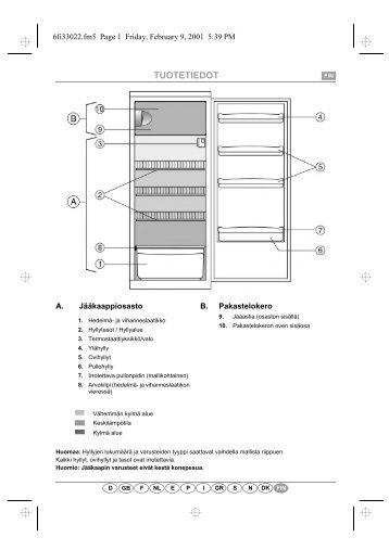 KitchenAid A 215R/M - Refrigerator - A 215R/M - Refrigerator FI (853985238000) Scheda programmi