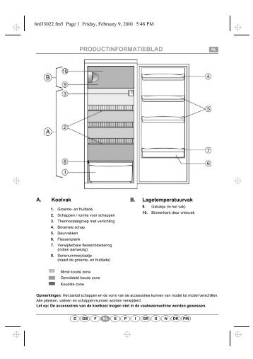 KitchenAid A 215R/M - Refrigerator - A 215R/M - Refrigerator NL (853985238000) Scheda programmi