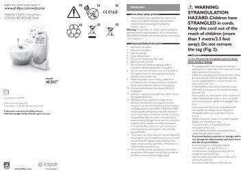 Philips Avent Écoute-bébé DECT - Instructions avant utilisation - BUL