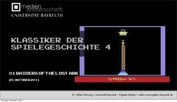 Raiders of the Lost Ark - Medienwissenschaft Universität Bayreuth