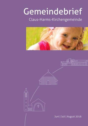 Gemeindebrief der Claus-Harms-Kirchengemeinde Juni-August 2016