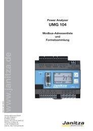 Power Analyser UMG 104 Modbus-Adressenliste und ...