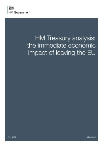 HM Treasury analysis the immediate economic impact of leaving the EU