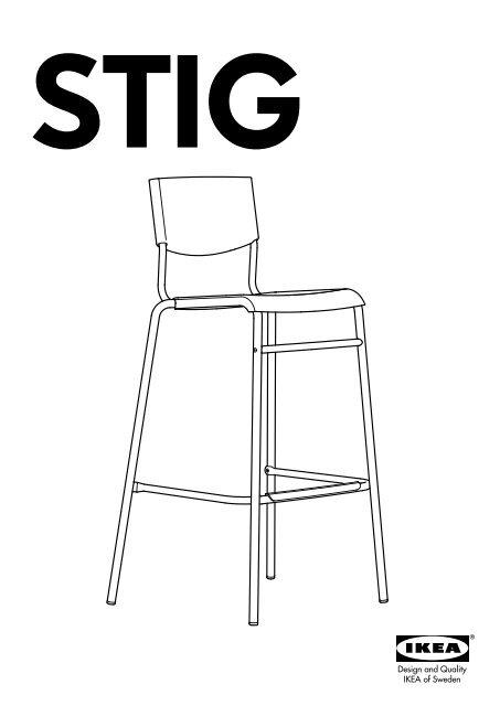 Sedie Bar Ikea.Ikea Stig Sedia Bar 80155205 Istruzioni Di Montaggio