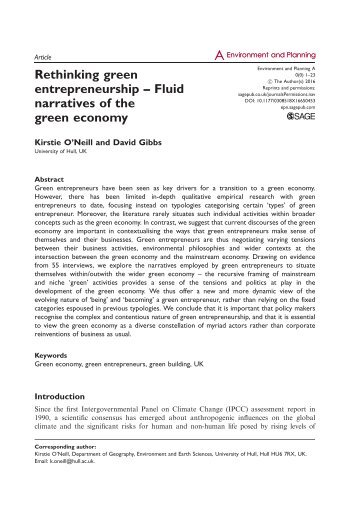Rethinking green entrepreneurship – Fluid narratives of the green economy
