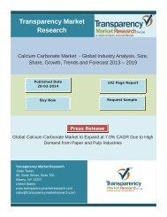 Calcium Carbonate Market to surpass US$25 Bn by 2019