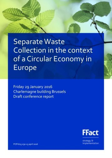 Separate Waste Collection in the context of a Circular Economy in Europe