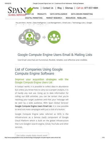 Get Tele Verified Google Compute Engine Customer Lists from Span Global Services