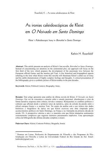 As ironias caleidoscópicas de Kleist em O noivado - fflch - USP
