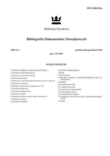 kup tanio Pierwsze spojrzenie ogromny zapas Bibliografia Dokumentów Dźwiękowych - Biblioteka Narodowa