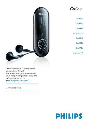 Philips GoGEAR Baladeur audio à mémoire flash - Mode d'emploi - POL