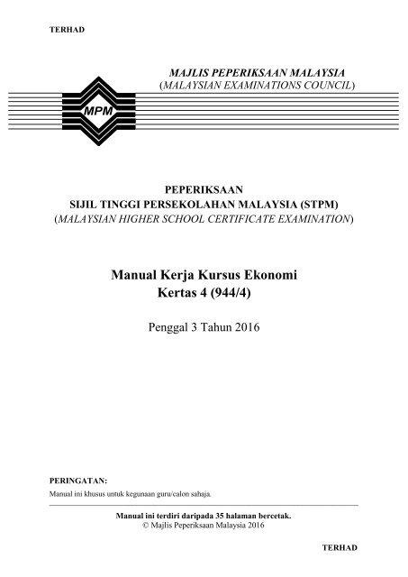 Manual Kerja Kursus Ekonomi Kertas 4 944 4