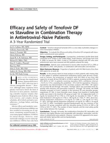 Efficacy and Safety of Tenofovir DF vs Stavudine in Combination ...