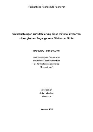 Untersuchungen zur Etablierung eines minimal-invasiven ...
