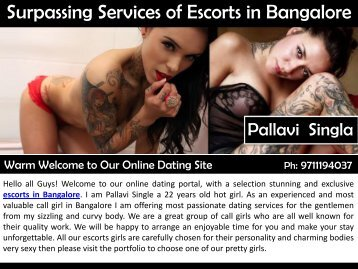 Surpassing Services of Escorts in Bangalore