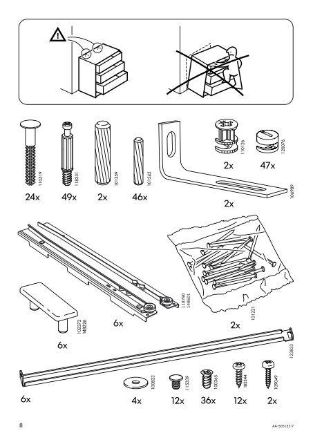 Cassettiera Malm Ikea Istruzioni Montaggio.148226 118790 148601 8 Aa