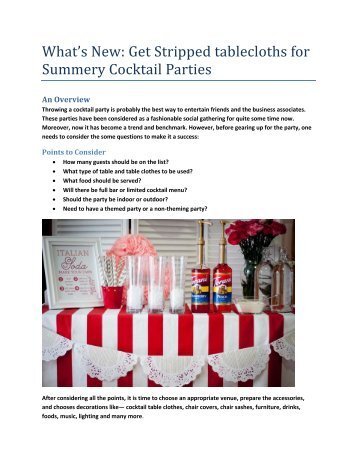 Get Stripped tablecloths for Summery Cocktail Parties