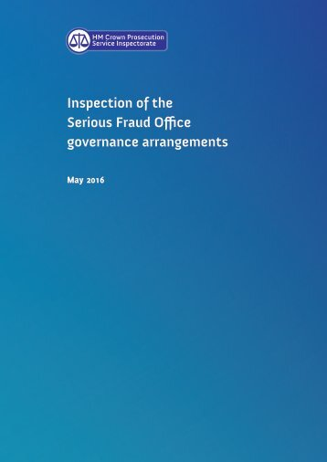 Inspection of the Serious Fraud Office governance arrangements