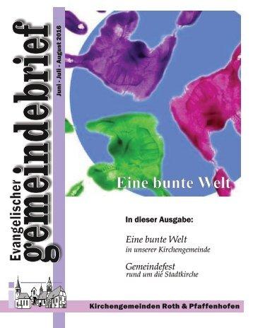 Evang. Kirchengemeinde Roth - Gemeindebrief Juni bis August 2016