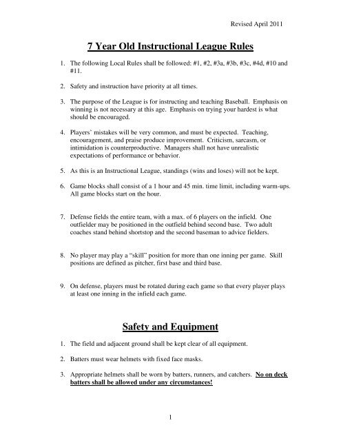 7 Year Old Instructional League Rules Safety and Equipment