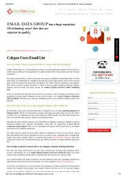 Email Marketing List of Calypso Users and Customers