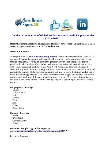 Global Nuclear Market: Trends & Opportunities (2013-2018)