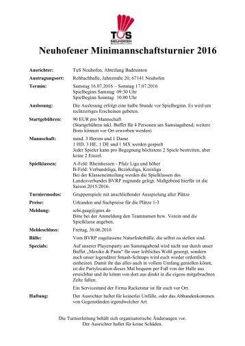 Ausschreibung Neuhofener Minimannschaftsturnier 2016