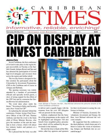 Caribbean Times 15th Issue - Wednesday 25th May 2016