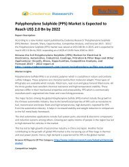 Polyphenylene Sulphide (PPS) Market is Expected to Reach US$ 2.0 Bn by 2022