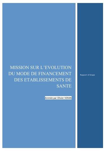 MISSION SUR L'EVOLUTION DU MODE DE FINANCEMENT DES ETABLISSEMENTS DE SANTE