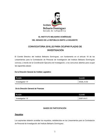 Convocatoria 2017 01 para ocupar plazas de investigaci n 1 for Sep convocatoria plazas 2016