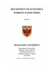 DEPARTMENT OF ECONOMICS WORKING PAPER SERIES McMASTER UNIVERSITY